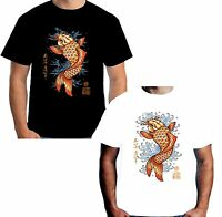 Velocitee Mens Koi Carp T Shirt Black White Tattoo Fish Japanese Pop Art W12565