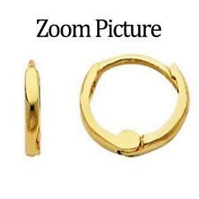 "14K Solid Italian Yellow Gold 1.5 mm Small Huggies Hoop plain Earrings 8 mm 1/4"""