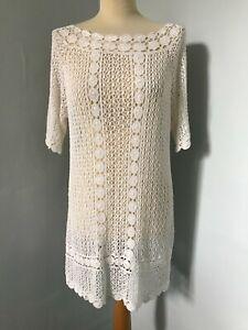 TOPSHOP BOUTIQUE BOHO CROCHET KNIT BEACH DRESS TUNIC LADIES WHITE - SIZE XL