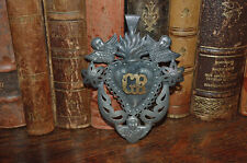 Antique Ex Voto Silver Sacred Flaming Heart Milagro 3 CHerubs Grace Recieved GR