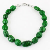 146.50 CTS EARTH MINED RICH GREEN EMERALD CARVED OVAL SHAPED BEADS BRACELET (DG)
