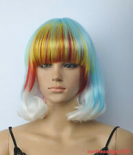 Hot Sell Fashion White Blue Red Short Straight Women's Lady's Hair Wig Wigs +Cap