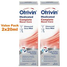 2x20ml Otrivin Medicated Complete Nasal Care Triple Action Formula. CANADA