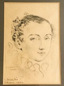Antique 1924 WATTEAU Charcoal Drawing Old Master Portrait Young Man Rotterdam