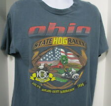 Harley Davidson Blue-Gray T-Shirt, 7th Annual Ohio HOG Rally Ashland County 1996