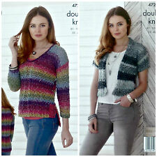 KNITTING PATTERN Ladies Short Sleeve Edge2Edge Cable Cardigan DK King Cole 4727
