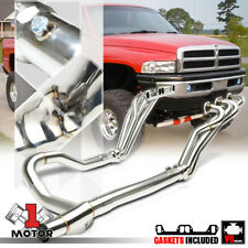 SS Long Tube Exhaust Header Manifold+Y-Pipe for 96-02 Dodge Ram 5.2/5.3/5.9 V8