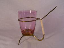Glasbehäter i Messingständer f Salzstangen Glas m Schliff Scalar rosa 50er