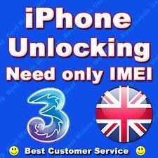 THREE 3 HUTCHISON UK IPHONE 3G 3GS 4 4S 5 5S 5C PERMANENT FACTORY UNLOCKING
