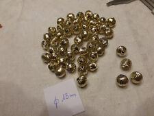 lot de 50 boule perle doré striée acrylique diam 13 mm
