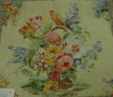 Lee Jofa 2 Remnant Pieces Bouquest Print with Bird Fabric