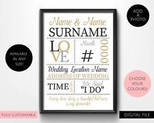Printable Personalised Wedding Typography Wall Art Print
