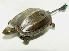 Superb chinese old style bronze Turtle lock and key