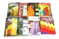 Lot of 12 Vtg Crochet Knit Pattern Project Books Afghans Dollies Cardigan Bulky