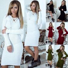Women Autumn Winter Long Sleeve Knit Bodycon Loose Sweater Mini Dress AU