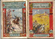 2 calendriers du soldat 1938,1939. 50 pages chacun.