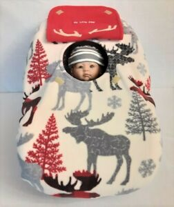 Car Seat Cover Great Outdoors Cabin Moose in Aspen Baby n Red Fleece Lining