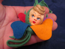*NOS Vintage Felt Flower Doll Ornament Garanzia Sigillo Saks Fifth Avenue Italy