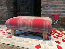 Footstool in Next  Stirling red Verastile check solid natural oak legs