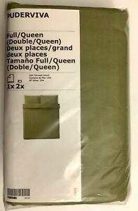 New IKEA PUDERVIVA Full/Queen Duvet cover and 2 pillowcases, Light Olive-Green