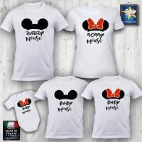 T-shirt magliette famiglia FAMILY TOPOLINO MINNIE NATALE COMPLEANNO Idea Regalo