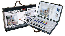 ARTIST ACRYLIC PAINTING WOODEN TRAVEL BOX SET PAINT TUBES BRUSH & PAD ACR7000