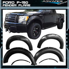 For 09-14 Ford F150 Pocket Rivet Style Fender Flares Black 4PCS - PP