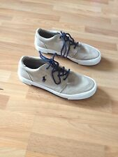 Boys Ralph Lauren Polo Beige/Navy Canvas Trainers **Extra Beige Laces** Size 6.5