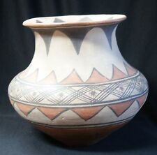 1900's San Ildefonso Large Fluted Polychrome Geometric Pottery Jar