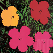 """36W""""x36H"""" FLOWERS,1964 RED, YELLOW and 2 PINK by ANDY WARHOL - POP ART CANVAS"""