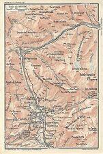 Carta geografica antica CORTINA D'AMPEZZO DOLOMITI TCI 1920 Old antique map