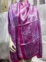 New Animal Pattern Pashmina Silk Cashmere Shawl Scarf Stole Wrap Fuchsia   psr43
