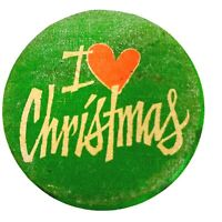Vintage 1981 Pinback Button Pin I Love Christmas Heart Green Red Holidays XMAS