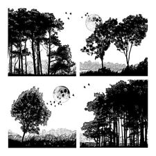 Crafty Individuals Rubber Stamps - Four Tree Landscapes - Trees, Silhouettes