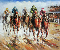 Thoroughbred Horse Race Track 20X24 Oil On Canvas Painting Sport STRETCHED