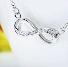 Silver Bright Infinity Sparkle Necklace made with Swarovski Crystals