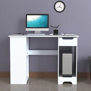 Computer Desk Office WhiteTable Workstation Study PC Furniture Drawer Bookcase H