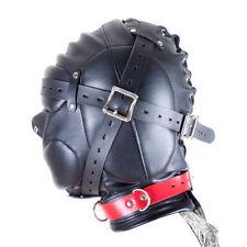 Leather Mask Hood Sensory Deprivation  Gimp Bandage Mouth Lockable