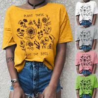 Summer Women Vintage Floral Print Round Neck T-shirt Short Sleeve Blouse Tops