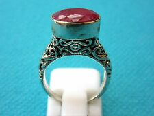 Stunning 925 Silver Overlay Ring With Natural Ruby, Size J US 4.75  (rg2672)