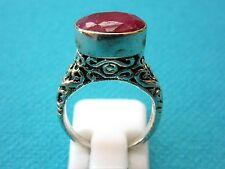 Splendido 925 Silver Overlay Anello con rubino naturale, taglia J US 4.75 (rg2672)