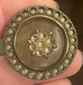 Antique BUTTON Perforated Celluloid in Brass faux seed pearls&jewels