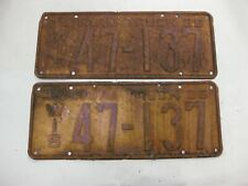 1935 / 1936 FARM TRUCK LICENSE PLATES - WISCONSIN/ SET OF 2 - NUMBER 47-137
