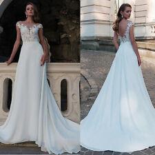 Chiffon A-Linie Brautkleid Perlen & Spitze Appliques Rückenfrei Hochzeitskleid
