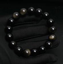 Round Beads Stretch Bracelet 11.8mm Natural Gold Obsidian Gemstone