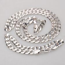 """8MM 18K Gold Filled Curb Link Men's Bracelet + Necklace 23.6"""" Chain Set US Stock"""