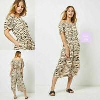 NEW RRP £28 Ex Dorothy Perkins Petite Multi Colour Zebra Print Bardot Jumpsuit