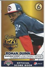 2016 Reading Fightin Phils Official Score Book Issue 6 Roman Quinn Sga
