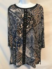Susan Graver Artisan XL Black Blue Tan Paisley Poly Tunic Shirt Top Gem Front