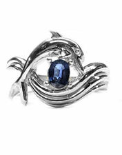 "Dolphin Engagement Ring, ""Independence Day"" style in Silver, Sapphire Center"